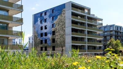 """Das erste Wandbild (""""Die Ernte"""" von Robert Zünd) ist bereits fertig: Die Überbauung Schweighof in Kriens (Bild: Philipp Schmidli, 4. September 2018.)"""