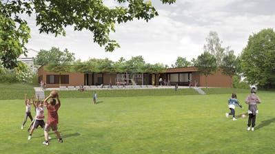 So ähnlich soll der Kindergarten Hemmerswil von Osten, von der Schulanlage her aussehen. Im Frühsommer 2020 könnte er bezogen werden. (Bild: PD/Kaderli Architekten)