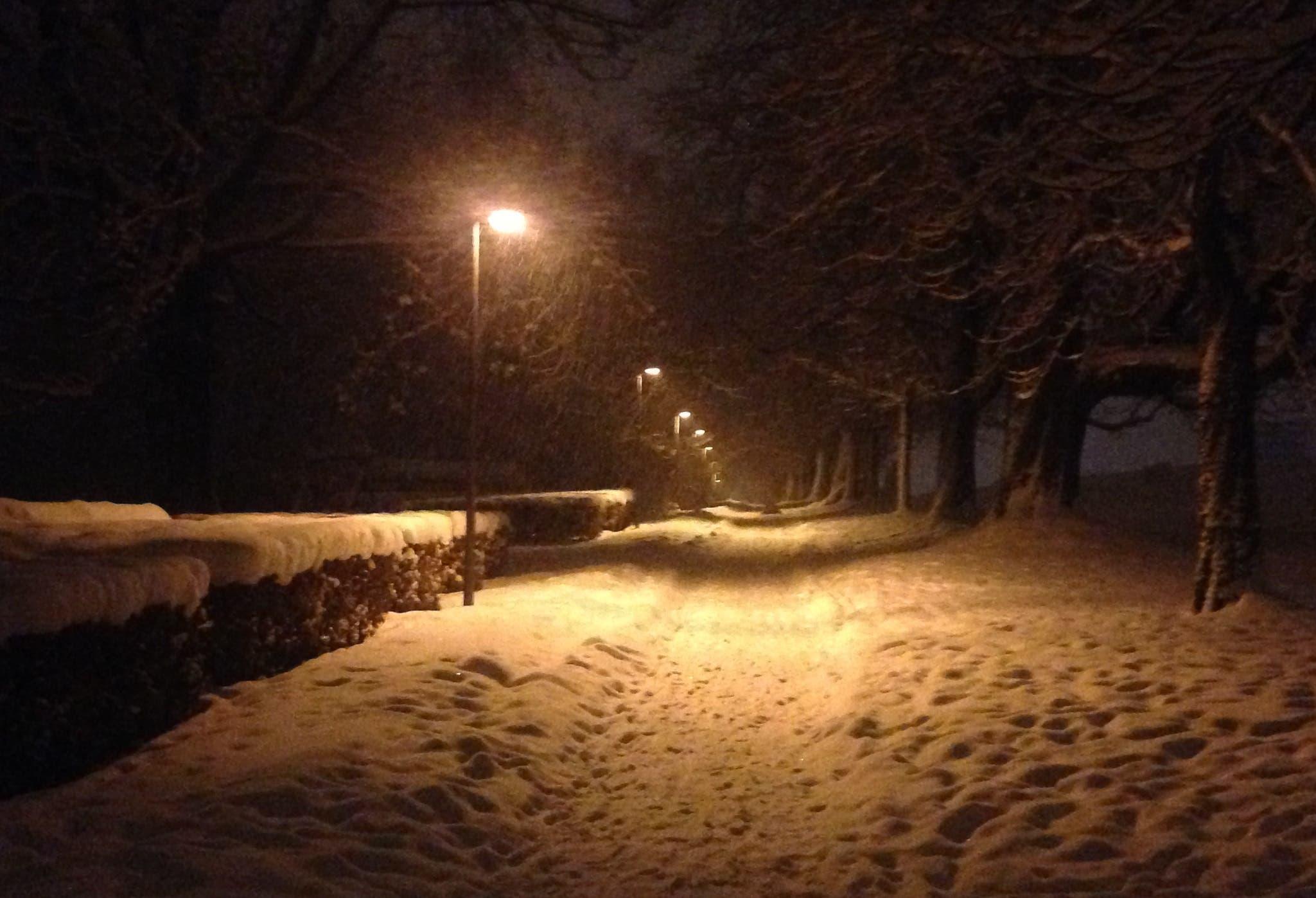 Kurz nach Mitternacht auf dem verschneiten Fussweg auf der Kreuzbleiche. (Bild: Reto Voneschen - 10. Januar 2019)