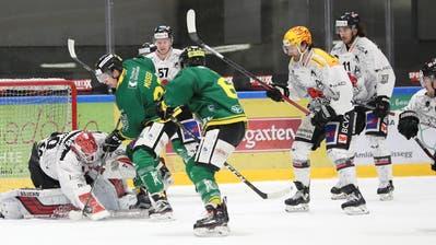 Die Thurgauer (Joel Moser und Jan Vogel vor dem Visper Goalie Sascha Rochow) erkämpften sich die drei Punkte gegen die Walliser redlich. (Bild Mario Gaccioli)