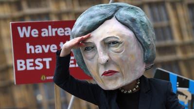 Ein Demonstrant hat sich am Dienstag alsTheresa May verkleidet.(Bild: EPA/NEIL HALL)