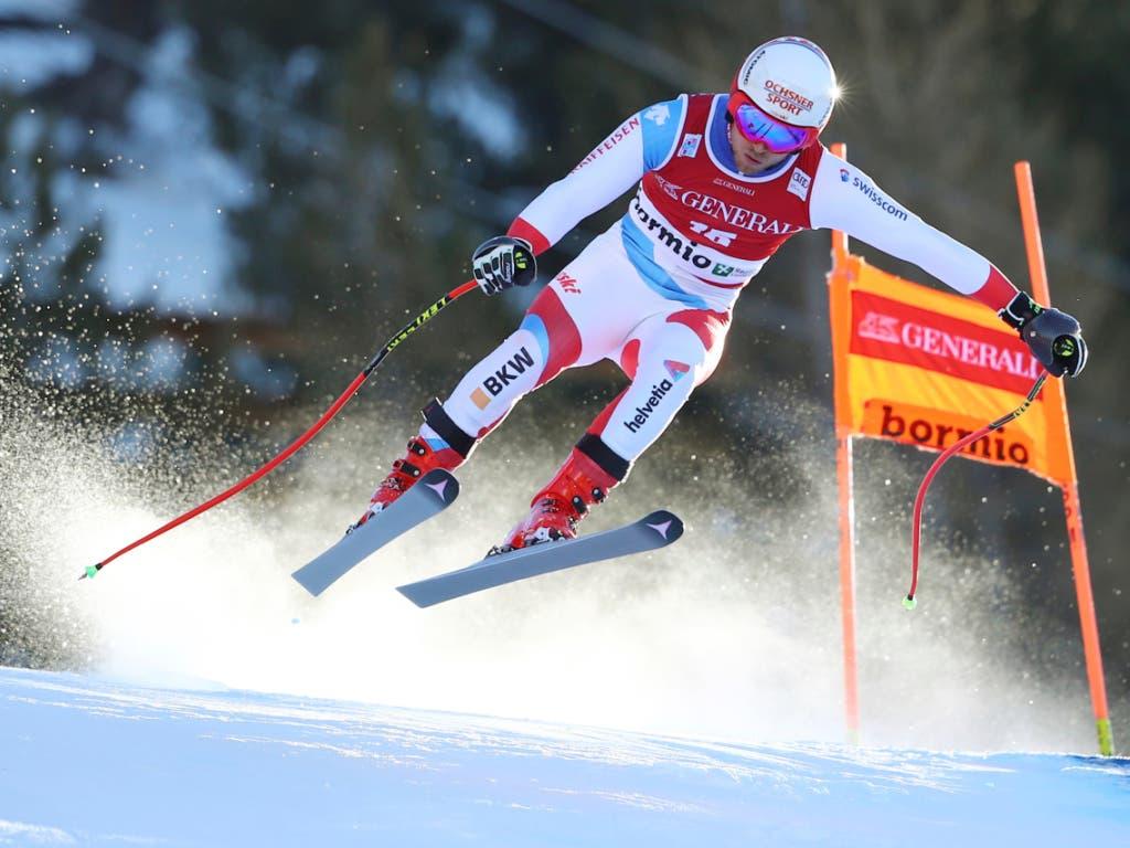 Auch Mauro Caviezel flog dem Ziel richtiggehend entgegen - und wurde Zweiter (Bild: KEYSTONE/AP/MARCO TROVATI)