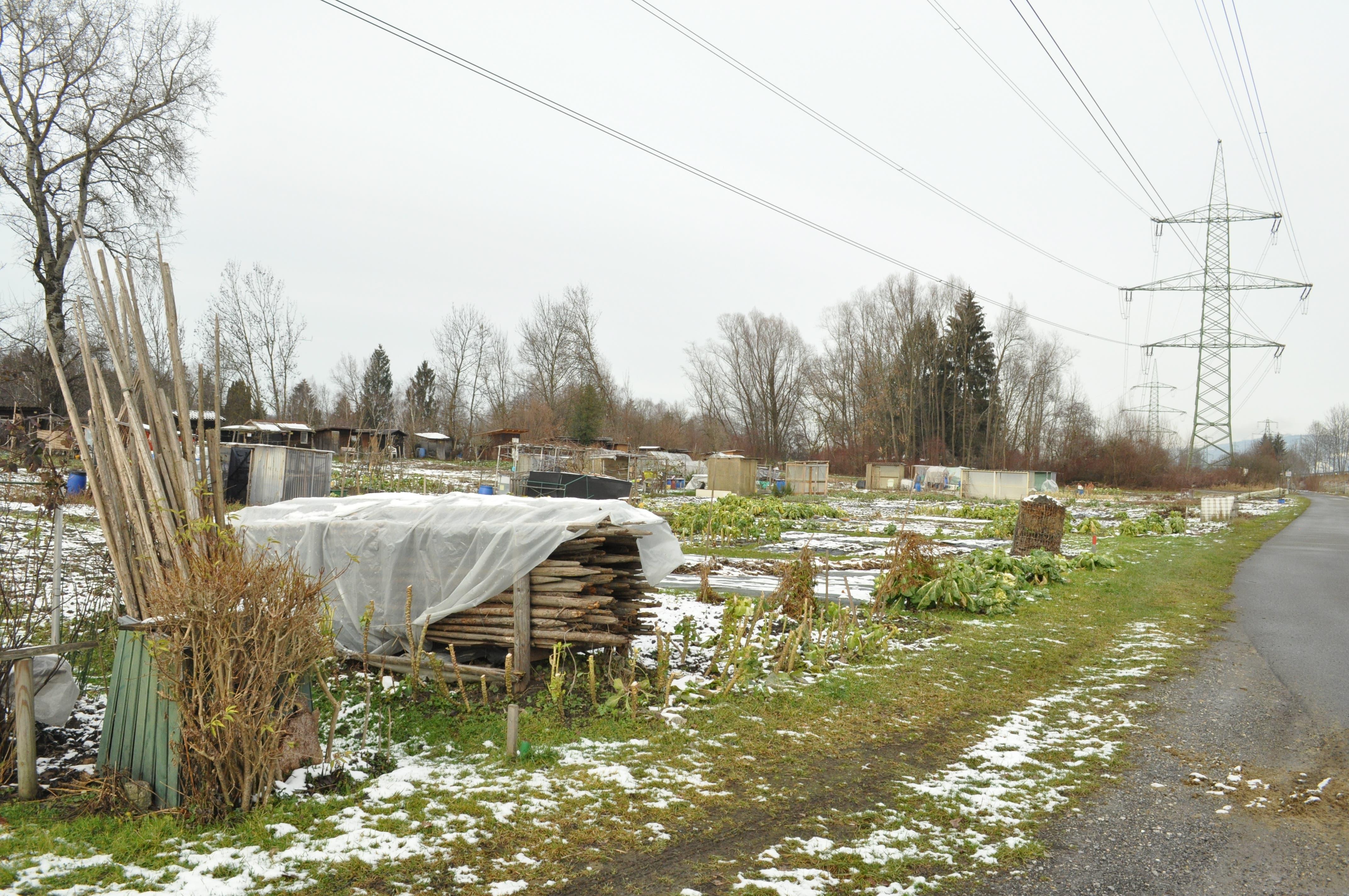 Der erste Abschnitt ist gesäumt von kleinen Schrebergärten.
