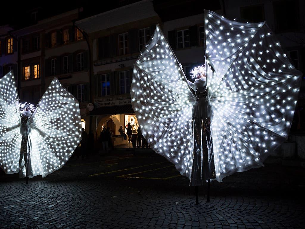 25 Künstlerinnen und Künstler sind beim vierten Licht-Festival engagiert. (Bild: Keystone/ADRIEN PERRITAZ)