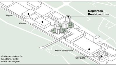Das Modell der vier Wohntürme an der Info-Veranstaltung am Mittwochabend stiess auf grosse Interesse. (Bild: Simon Mathis (Dierikon, 23. Januar 2019))