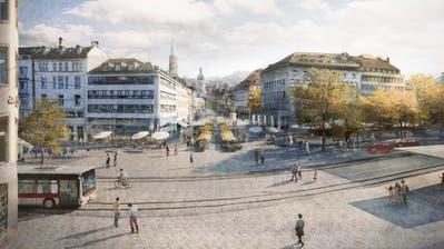 So soll der «neue» Marktplatz aussehen: Sofort ins Auge sticht das Fehlen der Rondelle und der Bäume in der Marktgasse sowie der dadurch freigeräumte Platz auf der Ostseite der Acrevis Bank. (Illustration: PD/Stadt St.Gallen)