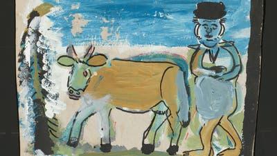 Hans Krüsi (1920-1995) verkaufte seine Blättchen mit Appenzeller Volksmotiven einst billig in Zürich. (Collection de l'Art Brut, Lausanne)