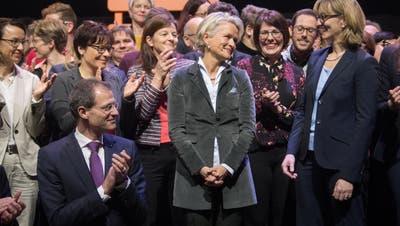 Glückliche Siegerin: Andrea Gmür nach der Nomination zur Ständeratskandidatin der CVP Luzern. Bild: Boris Bürgisser (Sursee, 29. Januar 2019)