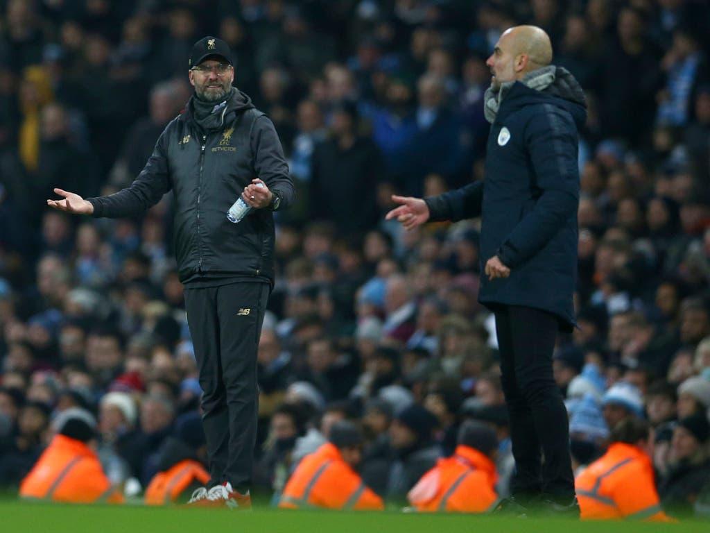Manchester City gegen Liverpool ist auch das Duell der beiden Star-Trainer: Pep Guardiola glückte mit den Citizens im achten Anlauf erst der zweite Sieg gegen Jürgen Klopp und Liverpool (Bild: KEYSTONE/AP/DAVE THOMPSON)