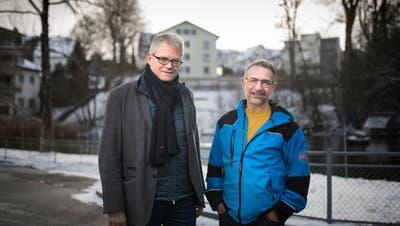 Vor ihrer letzten Stadtparlamentssitzung: Daniel Stauffacher (links) und Werner Ruppeiner. (Bild: Benjamin Manser)