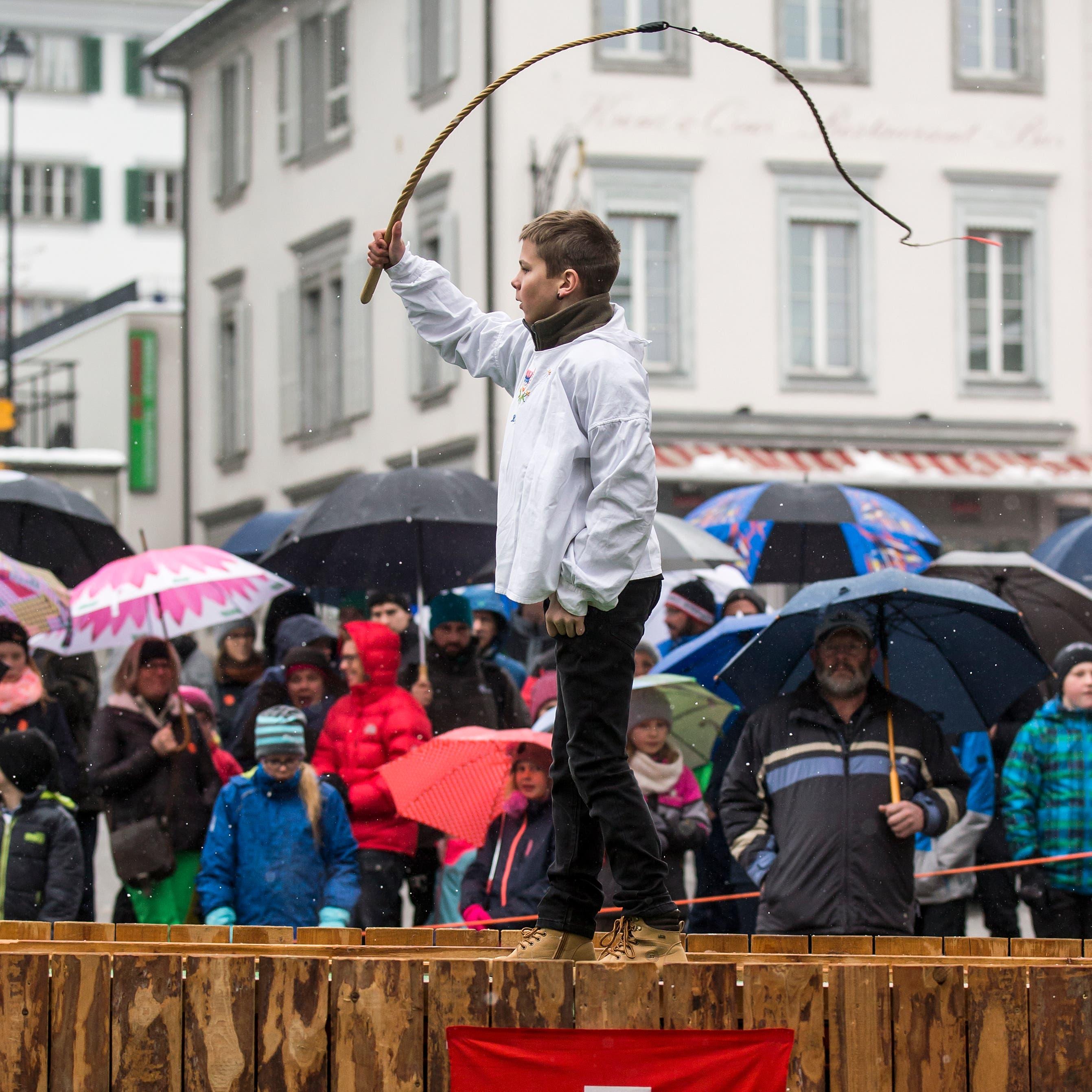 Thomas Schelbert bei seinem Auftritt. (Bild: Alexandra Wey/Keystone (Schwyz, 6. Dezember 2019))