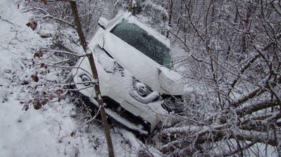 In Rapperswil-Jona ist am Samstagmittag dieses Auto von der Strasse abgekommen. (Bild: Kapo SG)