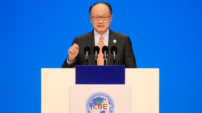 World Bank President Jim Yong Kim speaks at the opening ceremony for the first China International Import Expo (CIIE) in Shanghai, Monday, Nov. 5, 2018. (Aly Song/Pool Photo via AP)