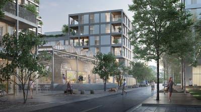 Blick ins Qube-Quartier – so der Name des Projekts –, wie es dereinst aussehen könnte. (Visualisierung: Migros Luzern)