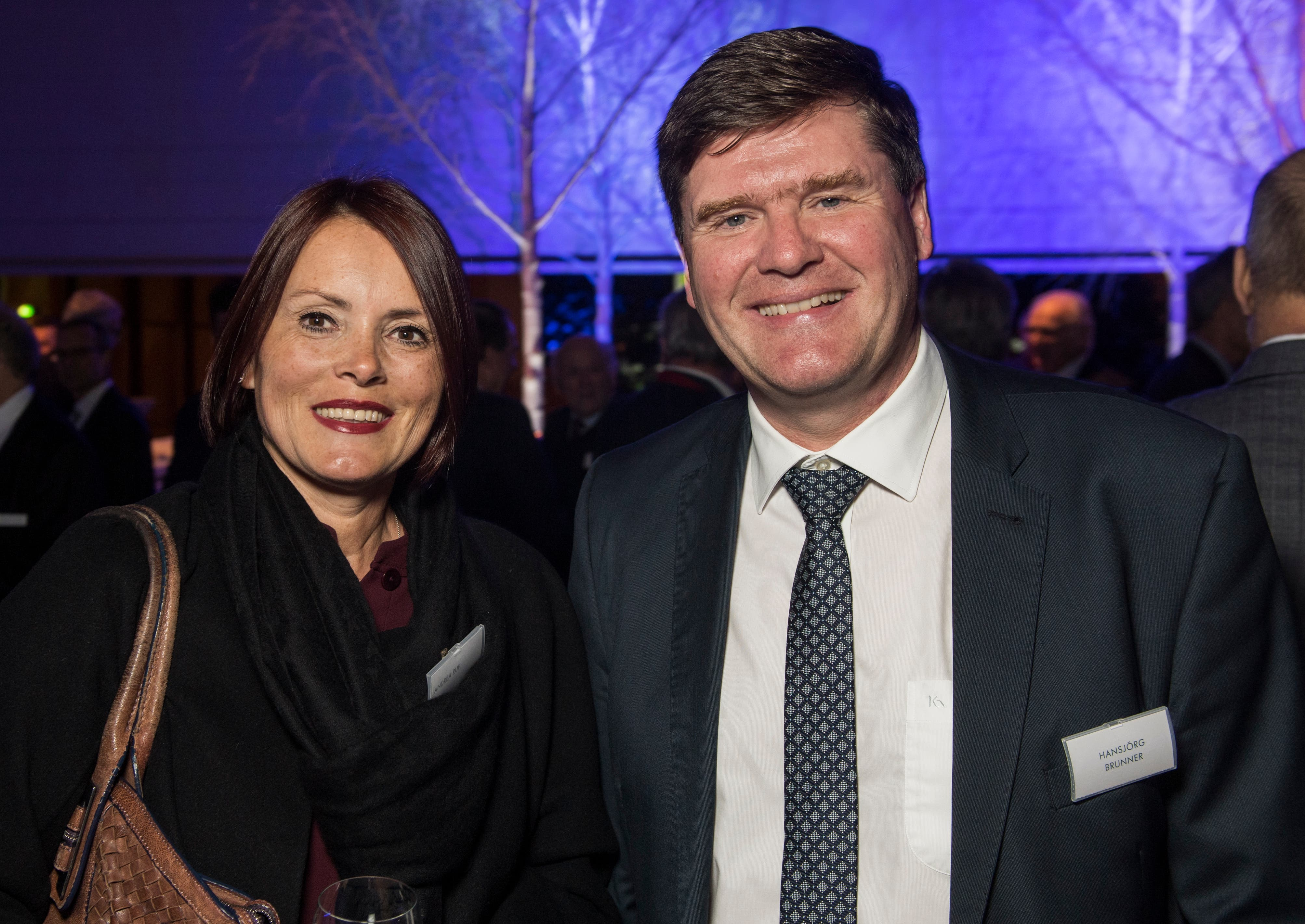 SBS-Chefin Andrea Ruf und FDP-Nationalrat Hansjörg Brunner am Neujahrsapéro 2019 der Thurgauer Kantonalbank im Seeparksaal Arbon. (Bilder: Reto Martin)