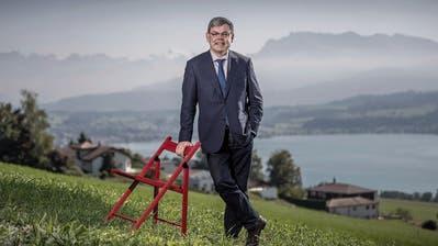 «Hier kann ich auftanken – und bei gutem Wetter zum Napf schauen»: Franz Grüter am Eichberg. (Bild: Pius Amrein, Eich, 23. September 2019)
