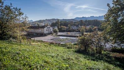 Das derzeit brache Areal Eichhof West liegt, wie der Name sagt, westlich der Brauerei Eichhof. (Bild: Pius Amrein, Kriens, 17. Oktober 2019)