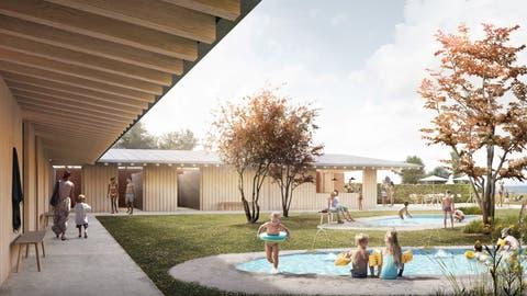 Das L-förmige Gebäude schmiegt sich um den Kinder- und Familienplatz und schützt diesen vor Strassenlärm. (Visualisierung: Zech Architektur)