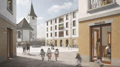 So wird der Dorfplatz in Entlebuch künftig aussehen. Geht es nach den Initianten, soll über solche Projekte künftig in jedem Fall an der Urne abgestimmt werden. (Visualisierung: PD)