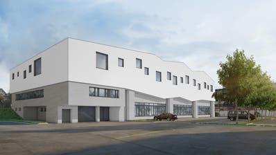 So soll die bereits bestehende Sporthalle Grünau mit dem aufgestockten Musik- und Kulturraum aussehen. Visualisierung: PD