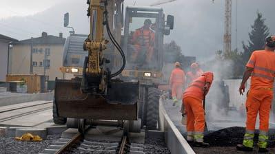 Die neue S-Bahn-Haltestelle Hergiswil Matt entsteht. (Bilder: Corinne Glanzmann (Hergiswil, 23. Oktober 2019)
