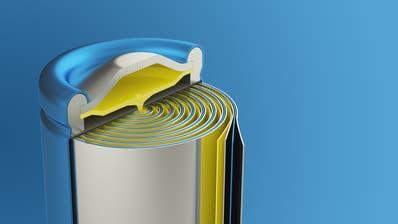 Lithium-Ionen-Zelle: Kathode und Anode sind durch eine isolierende Schicht getrennt. (Bild: Shutterstock)