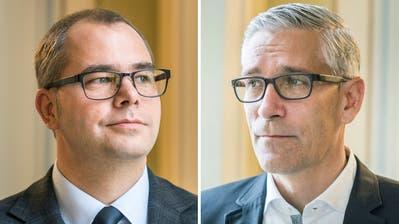 Bereit zum Duell: Urs Martin (links) und Urs Schrepfer. (Bild: Andrea Stalder)