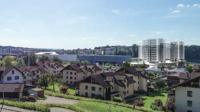Blick von Dierikon auf die geplanten Wohntürme des Rontalzentrums, links davon die Mall of Switzerland. (Visualisierung: PD)