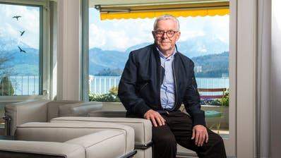 Hans-Peter Strebel in seinen Büroräumlichkeiten in Luzern. Bild: Dominik Wunderli (17. April 2019)