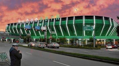 Lichtinszenierung im Grün des FC St.Gallen: Visualisierung der bescheideneren Variante für Lichtkunst am Stadion, gemäss Konzept von Habegger. (Visualisierung: PD)