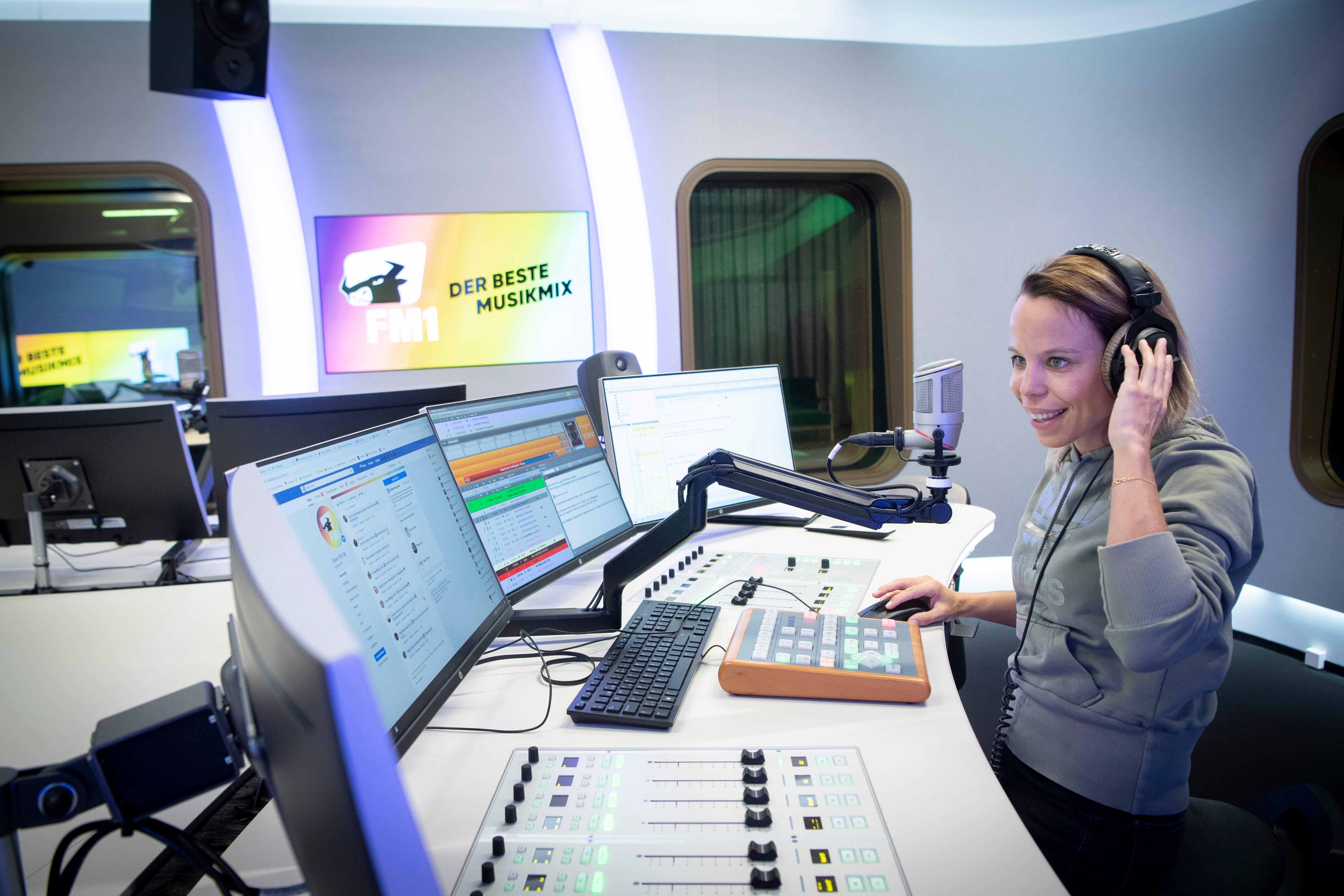 Blick in die Radiostudios von FM1.