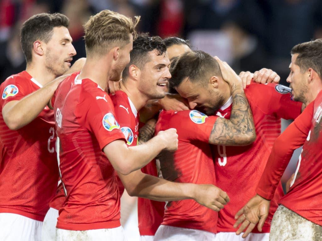 Jubeln die Schweizer schon bald über die EM-Qualifikation? (Bild: KEYSTONE/LAURENT GILLIERON)