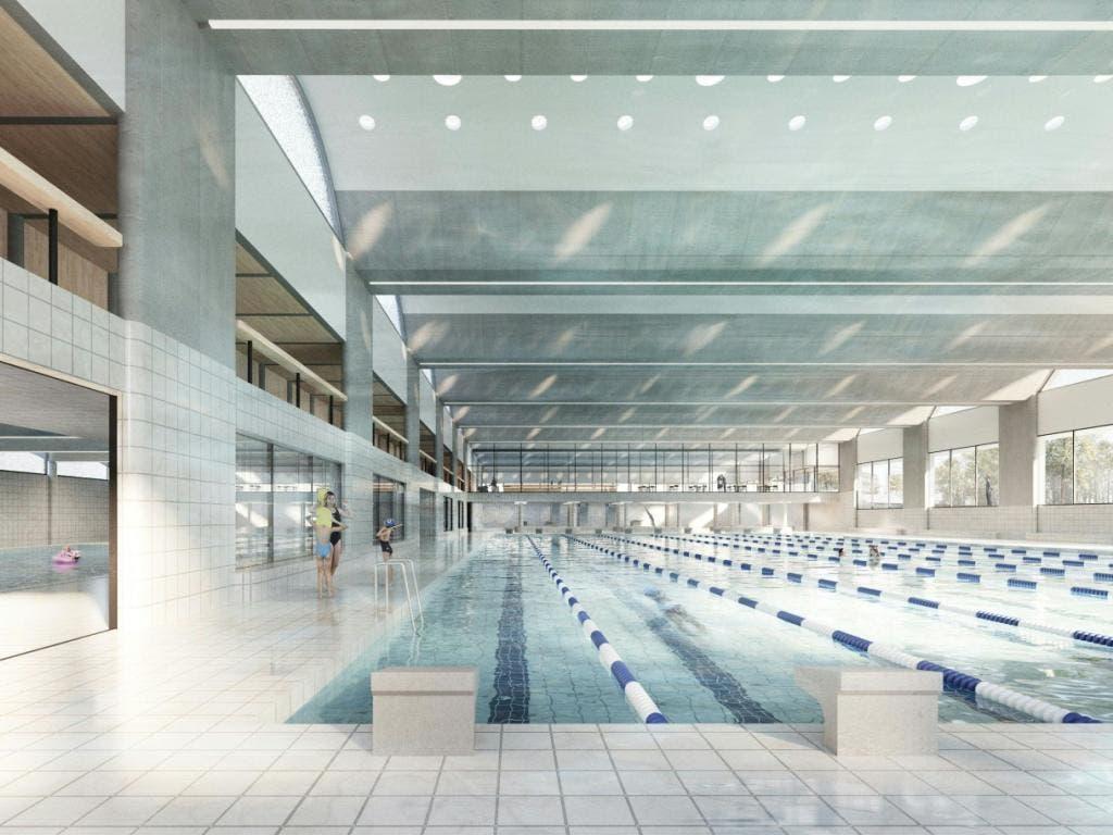 Die geplante 50-Meter-Schwimmhalle von innen. (Bild: Stadt Bern/zvg)