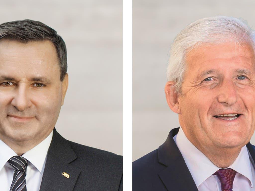 Werner Salzmann (SVP, links) wird neuer Berner Ständerat - und damit Kollege von Hans Stöckli (SP). (Bild: Keystone/SVP, SP)