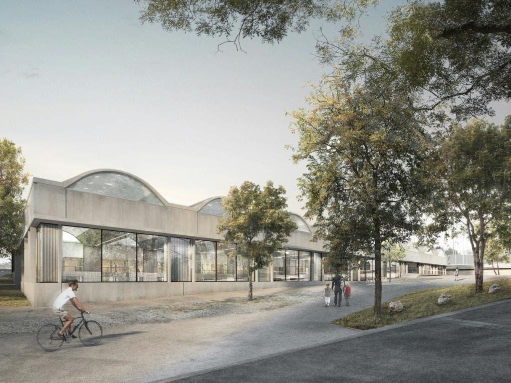 Die geplante Schwimmhalle von aussen. (Bild: Stadt Bern/zvg)