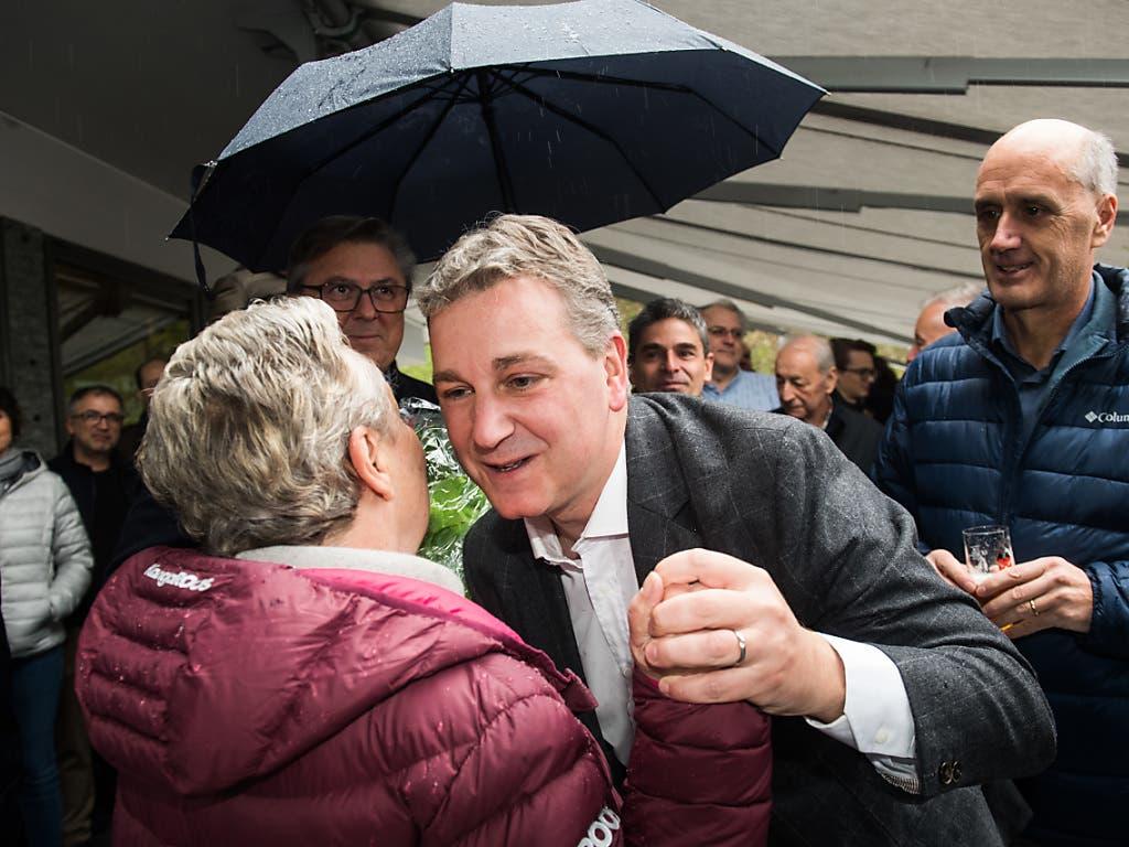Freude beim neugewählten Tessiner SVP-Ständerat Marco Chiesa. (Bild: KEYSTONE/Ti-Press/ALESSANDRO CRINARI)