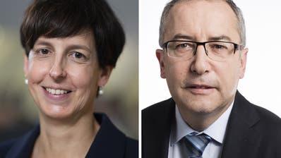 Wer macht das Rennen? Susanne Hartmann und Thomas Ammann wollen für die CVP in den St.Galler Regierungsrat. (Bilder: Keystone)