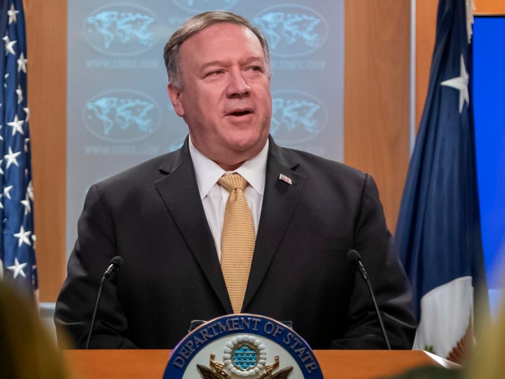 US-Aussenminister Mike Pompeo sagte in Washington, der Bau von israelischen Siedlungen im Westjordanland «ist nicht per se unvereinbar mit internationalem Recht». (Bild: KEYSTONE/EPA/ERIK S. LESSER)