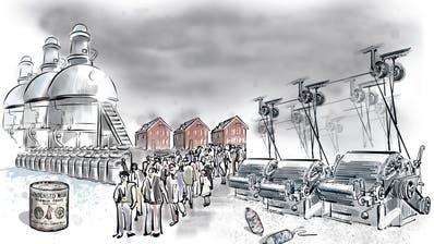 Spinnereien (rechts) standen am Beginn der Industrialisierung im Kanton Zug. Die Anglo-Swiss Condensed Milk Company in Cham (links) war erste Anbieterin von Kondensmilch in Europa. (Illustration: Janina Noser)