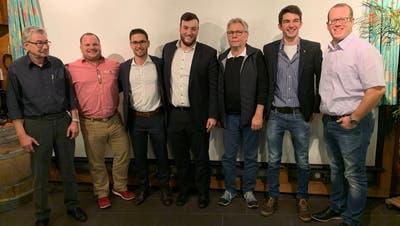 Sieben der neun Kandidaten der SVP-Kreispartei, welche für die Kantonsratswahlen nominiert wurden. (Bild: PD)