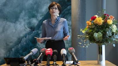 Regula Rytz, Parteipräsidentin Grüne, gibt an der Medienkonferenz ihre Kandidatur für den Bundesrat bekannt. (Bild: Peter Klaunzer/Keystone, Bern, 21. November 2019)