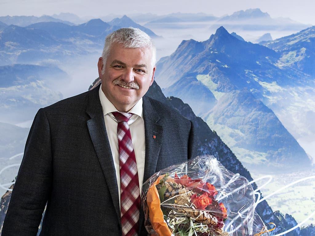Der neue Schwyzer Ständerat Othmar Reichmuth von der CVP nach der gewonnen Wahl. (Bild: KEYSTONE/ALEXANDRA WEY)