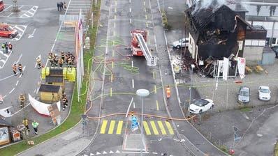 Luftaufnahme vom Unfallort. (Bild: Schwyzer Polizei)