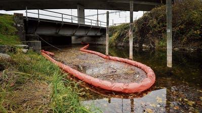 Zur Sicherheit hat der Kanton eine Ölsperre gelegt, in der sich schnell viel Abfall sammelt.(Bild: Donato Caspari)