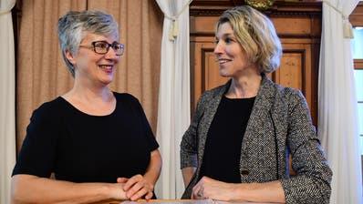 Thurgauer und Schweizer Lehrerpräsidentin: Anne Varenne, Dagmar Rösler. (Bild: Werner Lenzin)