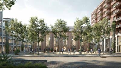 So soll das EWL-Areal künftig aussehen: in der Mitte der Quartierplatz mit dem heute bereits bestehenden Roten Haus im Hintergrund, rechts ABL-Wohnbauten. (Visualisierung PD)