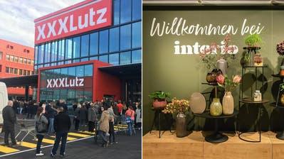In kürzesterZeit eroberteXXXLutz einen beträchtlichen Teil des Schweizer Marktes. Nun ergatterte der Konzern auch sechs Interio-Filialen. (Anja Suter/Interio/Montage CH Media)