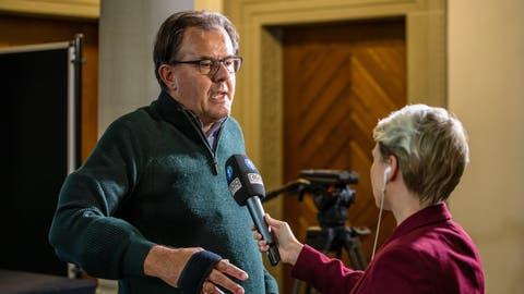 Der abgewählte Nationalrat Peter Schilliger (FDP) gibt am 20. Oktober 2019 im Luzerner Regierungsgebäude Interviews. (Philipp Schmidli)