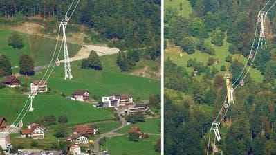 Visualisierung von Petitionär René Stettler wie die geplante Gondelbahn Weggis-Kaltbad die Landschaft tangieren könnte. Links: Oberhalb der Talstation in Weggis. Rechts: Die neuen Masten im Bereich des oberen «Chilewald». (Visualisierung: PD)