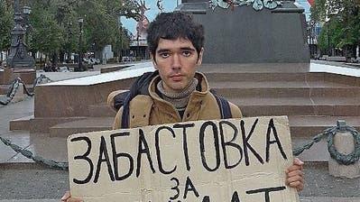 Einsamer Protest: Seit 40 Wochen demonstriert der Musiker ArschakMakitschjan in Moskau.
